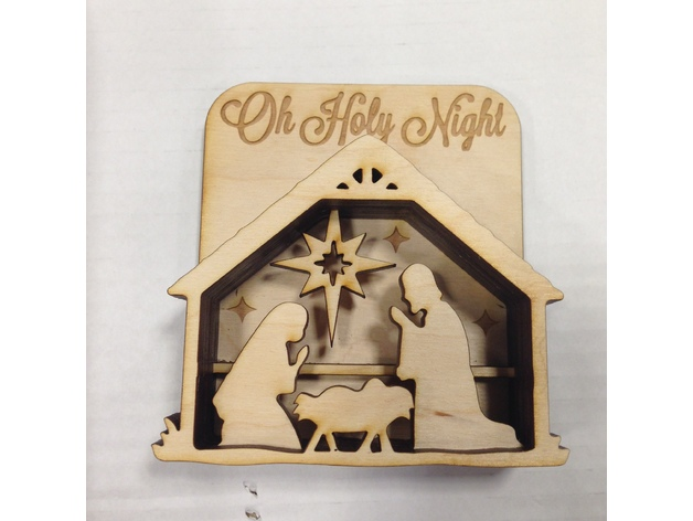 Laser Cut Nativity Shadow Box Free DXF File