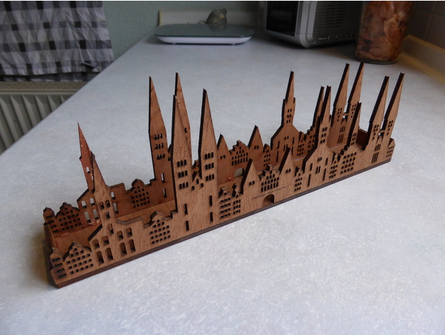 Laser Cut Skyline From lübeck As Tealight Free DXF File