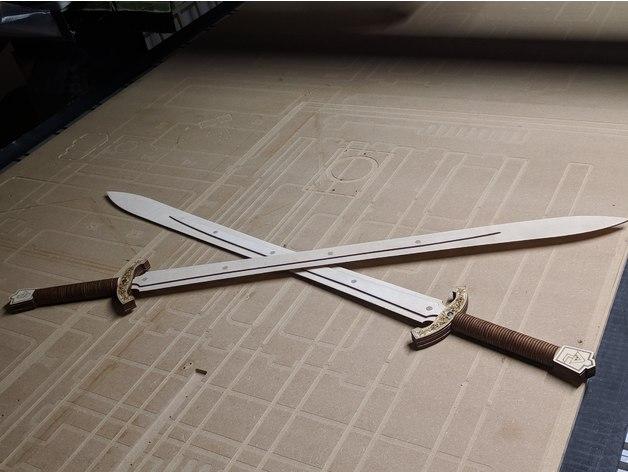 Laser Cut Swords Free DXF File