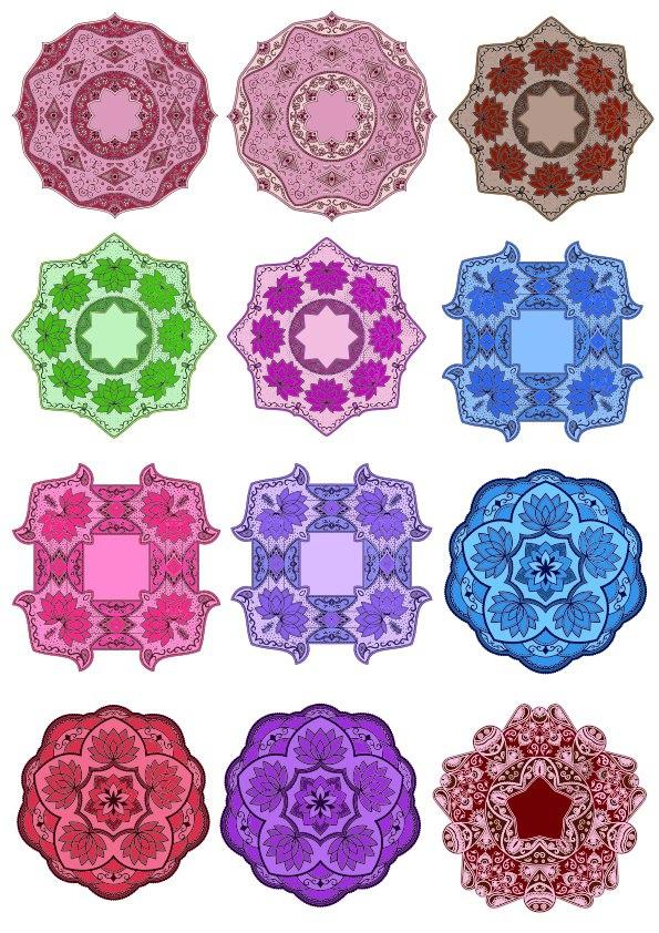 Color Floral Mandala Set Ornament Free CDR Vectors Art