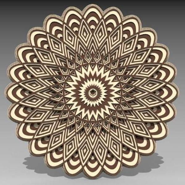 Laser Cut 3d Layered Mandala Ornament Free CDR Vectors Art