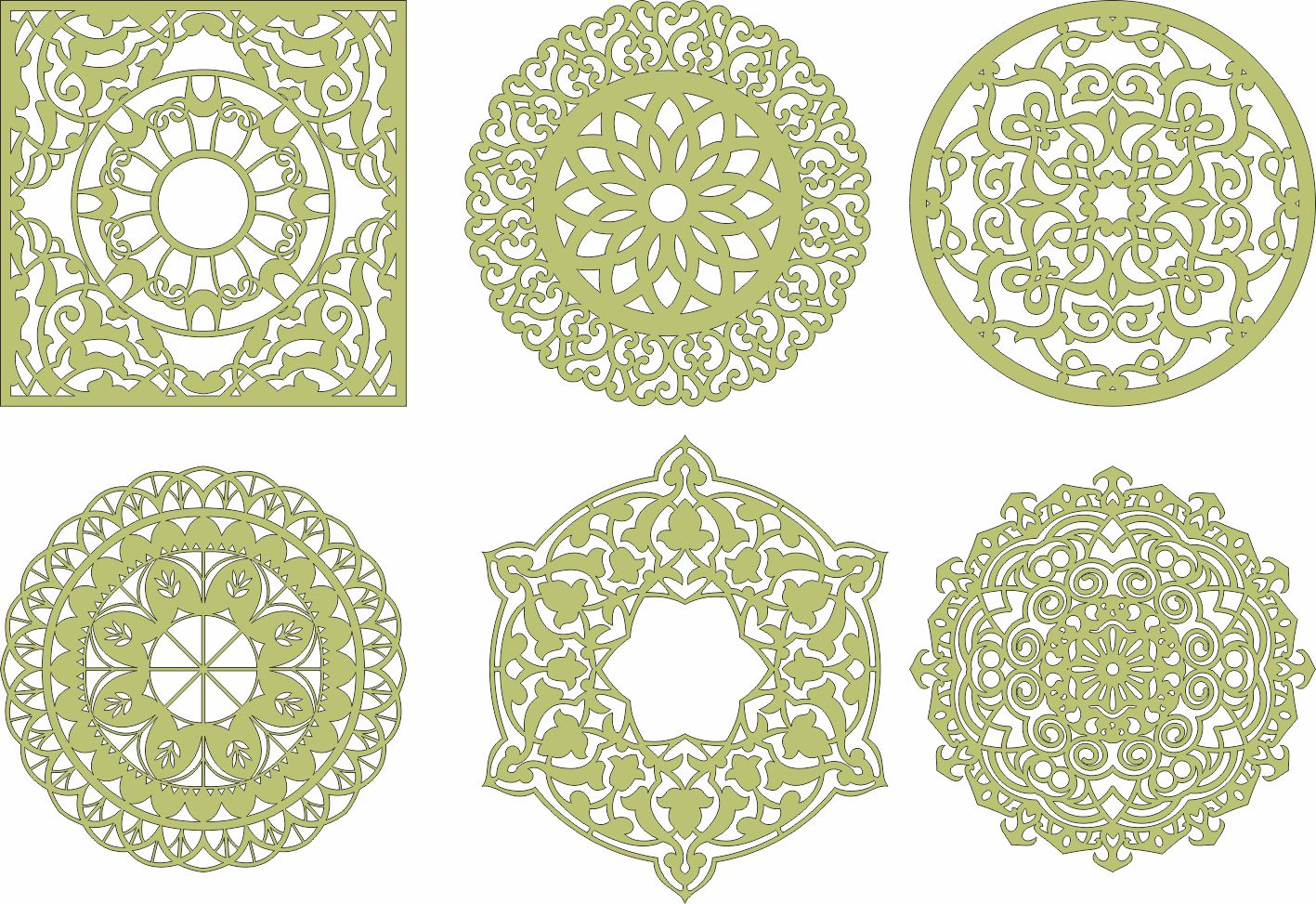 Laser Cut Mandala Decorations Ornament Free CDR Vectors Art