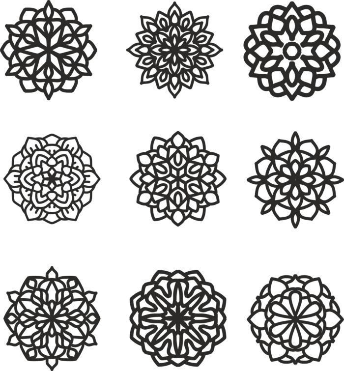 Mandala 9 Set Ornament Free CDR Vectors Art