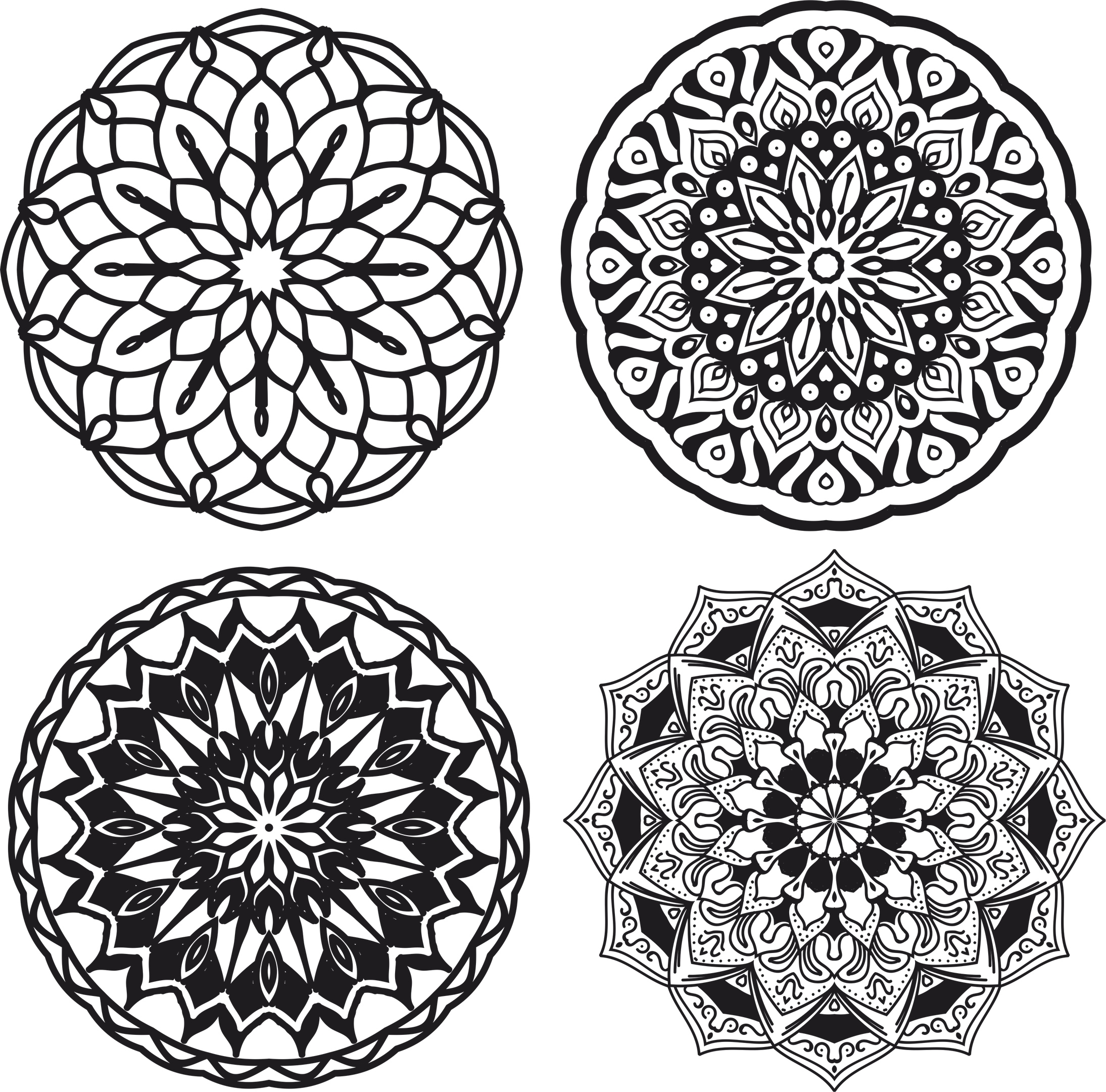 Mandalas Set Ornament Free CDR Vectors Art