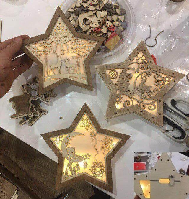 Laser Cut Night Light Star Free CDR Vectors Art