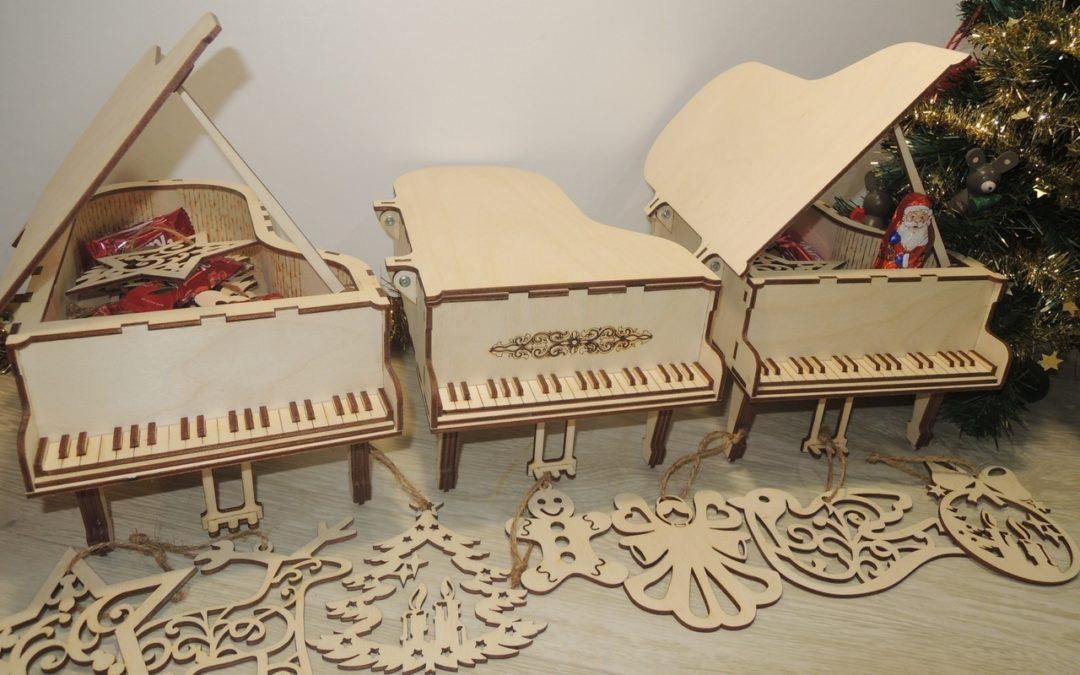 Laser Cut Piano Box Free CDR Vectors Art
