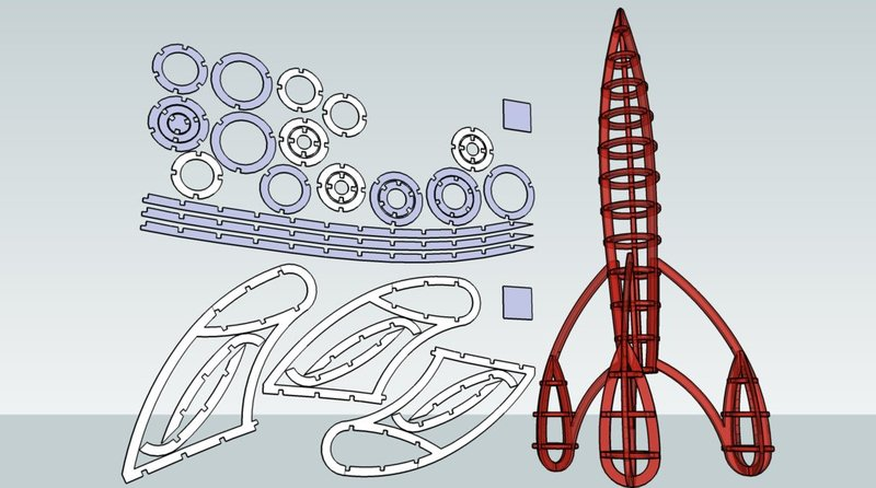 Rocket Laser Cut Free DXF File