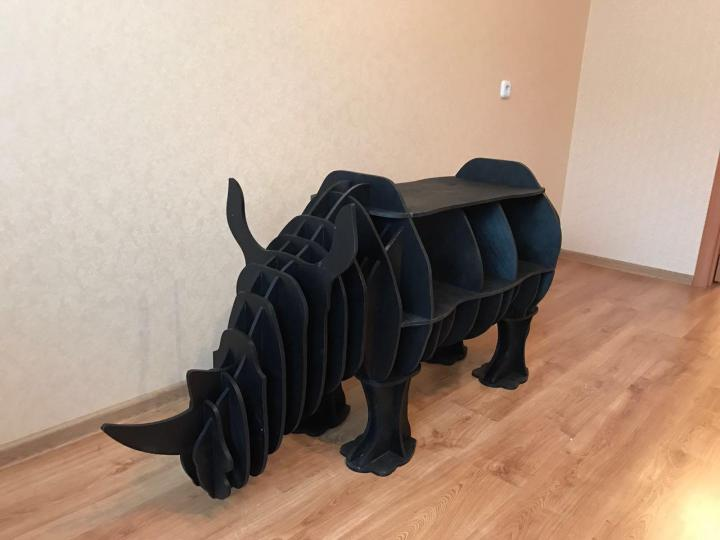 Rhino Bookshelf 8mm Laser Cut 3d Puzzle Free CDR Vectors Art