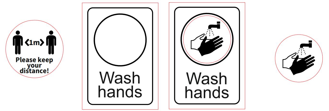Sign Wash Hands Keep Distance Free CDR Vectors Art