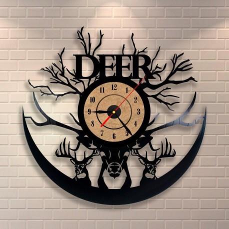 Laser Cut Deer Vinyl Record Clock Free CDR Vectors Art