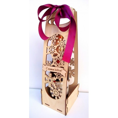Laser Cut Champagne Gift Box Free CDR Vectors Art