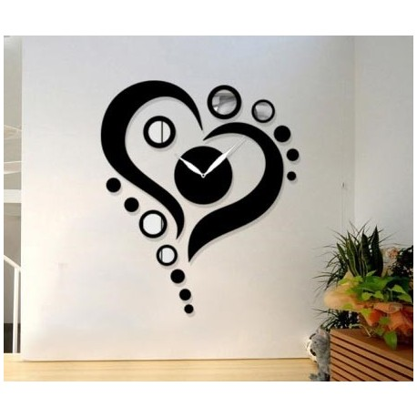 Laser Cut Heart Shape Wall Clock Free CDR Vectors Art