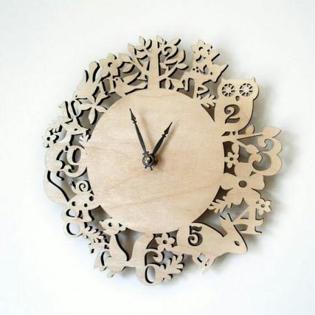 Laser Cut Kid Room Wall Clock Template Free CDR Vectors Art