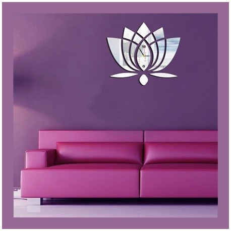 Laser Cut Lotus Flower Wall Clock Template Free CDR Vectors Art