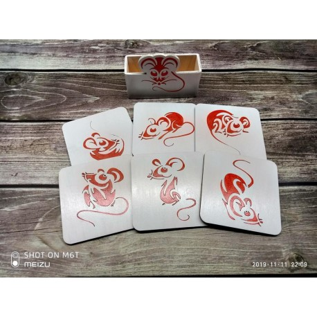Laser Cut Mouse Coasters With Holder Template Free CDR Vectors Art