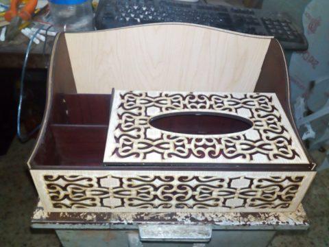 Laser Cut Organizer With Tissue Box Free CDR Vectors Art