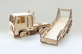 Laser Cut Truck With Trailer Free CDR Vectors Art