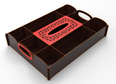 Laser Cut Beautiful Wooden Tissue Box Free DXF File