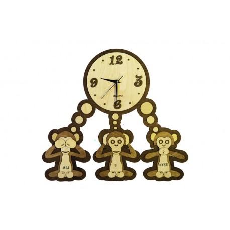 Laser Cut Three Monkeys Clock Template Free CDR Vectors Art