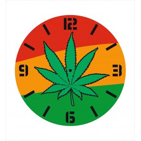 Laser Cut Wall Clock With Pot Leaf Free CDR Vectors Art