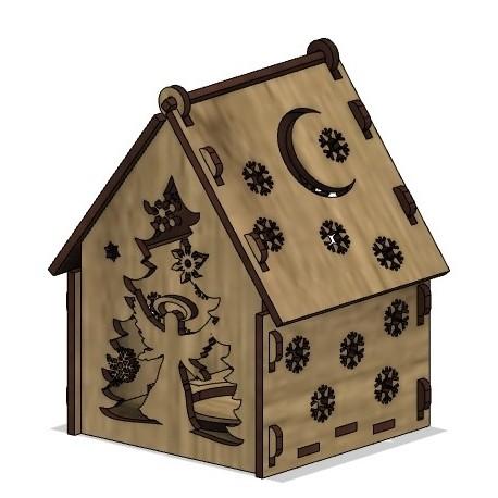 Laser Cut Wooden House Free CDR Vectors Art