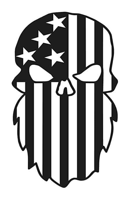 Beard Punisher Usa Flag Skulls For Silhouette Free DXF File