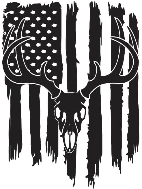 Deer Flag Silhouette Usa Flag Free DXF File