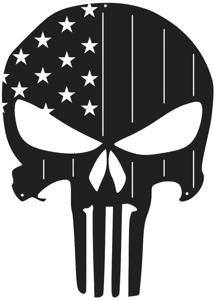 American Flag Punisher Skulls For Silhouette Free CDR Vectors Art
