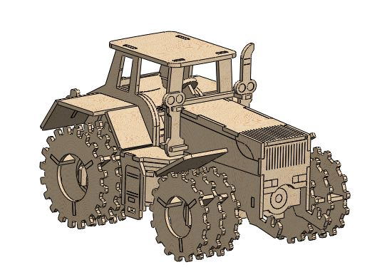 Tractor Laser Cut Diy 3d Puzzle Free DXF File
