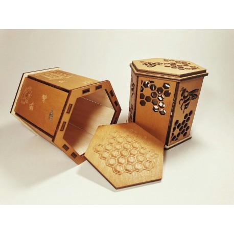 Laser Cut Box For Jar Of Honey Free CDR Vectors Art