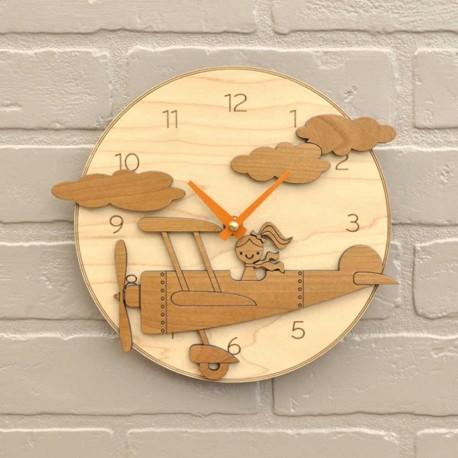 Laser Cut Cartoon Pilot Plane Wall Clock Free CDR Vectors Art