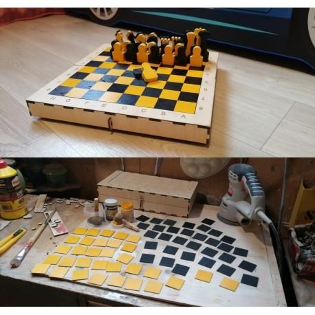Laser Cut Portable Chess Set Template Free CDR Vectors Art