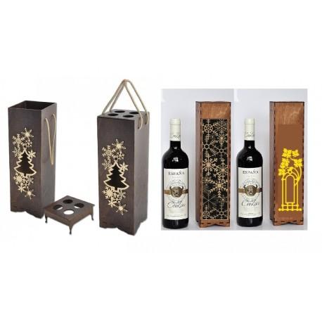 Laser Cut Wine Bottle Packaging 3mm Free CDR Vectors Art