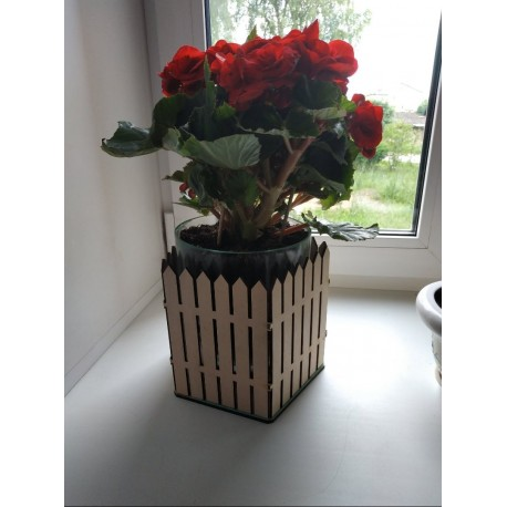 Laser Cut Flower Pot Planter Fence Of Wooden Stakes Free CDR Vectors Art