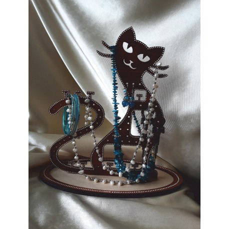 Laser Cut Kitty Cat Stand For Jewelry Free CDR Vectors Art