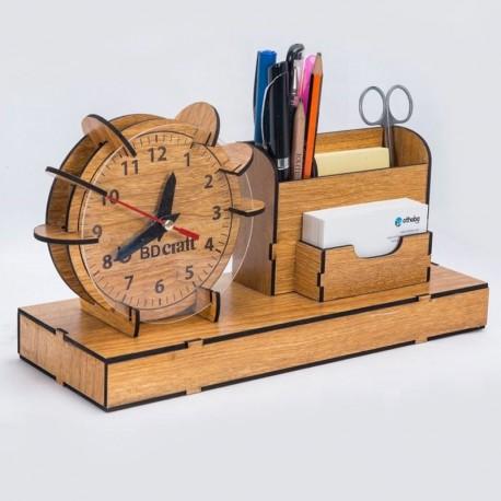 Laser Cut Organizer Clock Pen Slip Pad Holder Free CDR Vectors Art