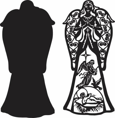 Woman Angel Silhouette Black And White Free DXF File