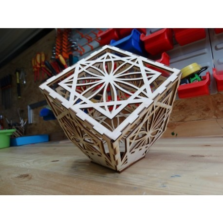 Wooden Laser Engraved Cube Lamp Template Free DXF File