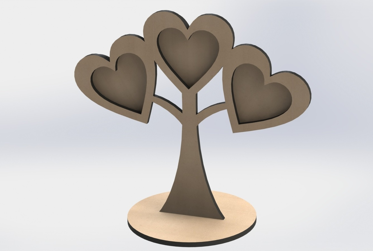 Heart Shapesd Frame Tree Laser Cutter Project Free CDR Vectors Art