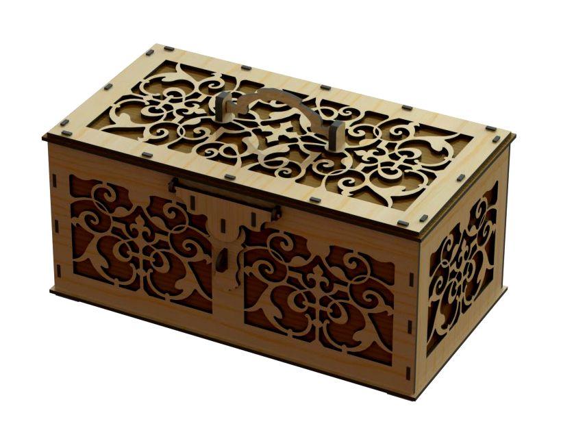Laser Cut Wood Beautiful Box Template Free CDR Vectors Art
