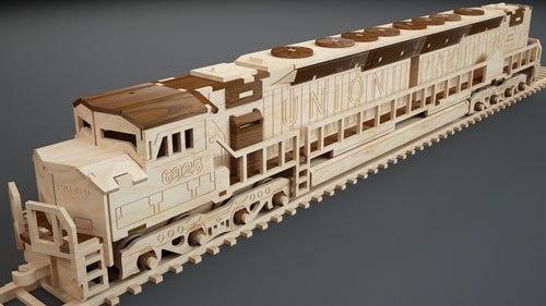 Beautiful Locomotive Laser Cut Model Free DXF File