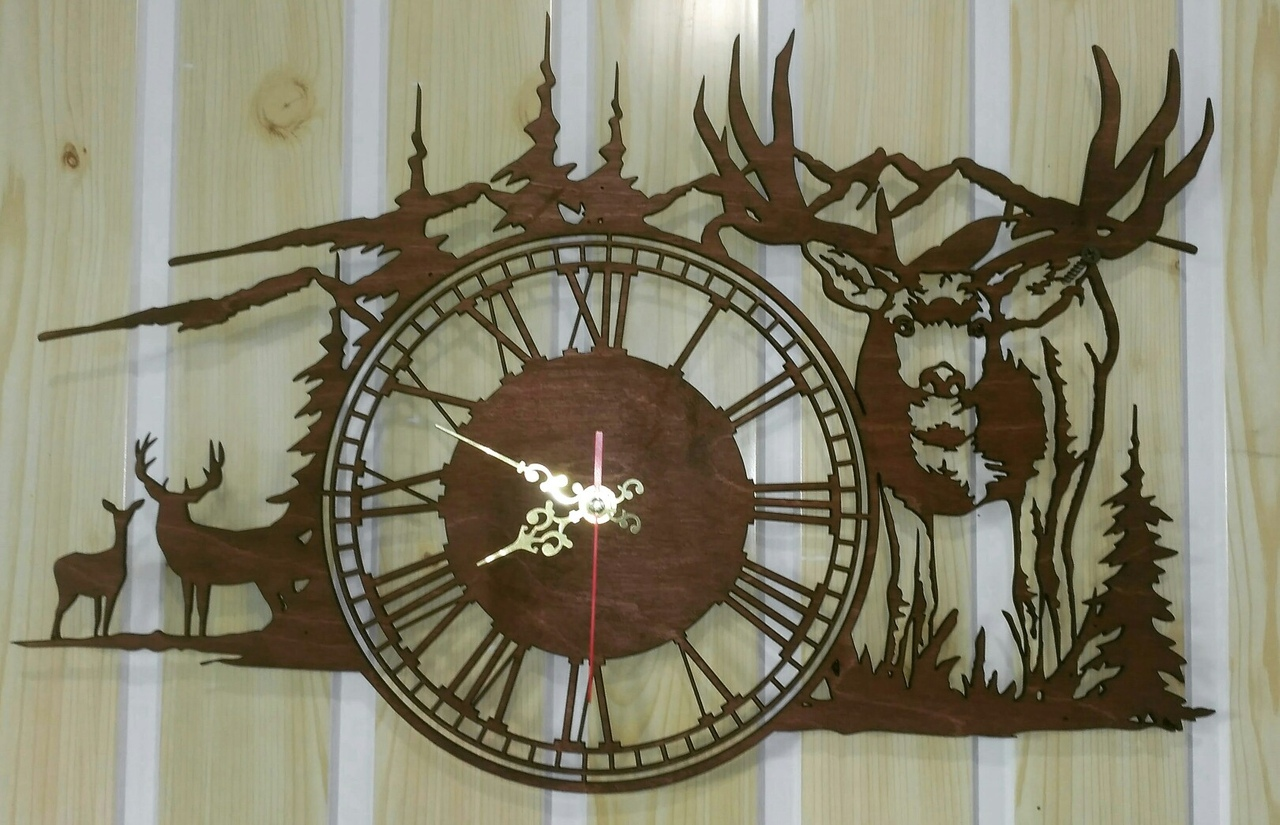Deer Clock For Laser Cutting Free DXF File