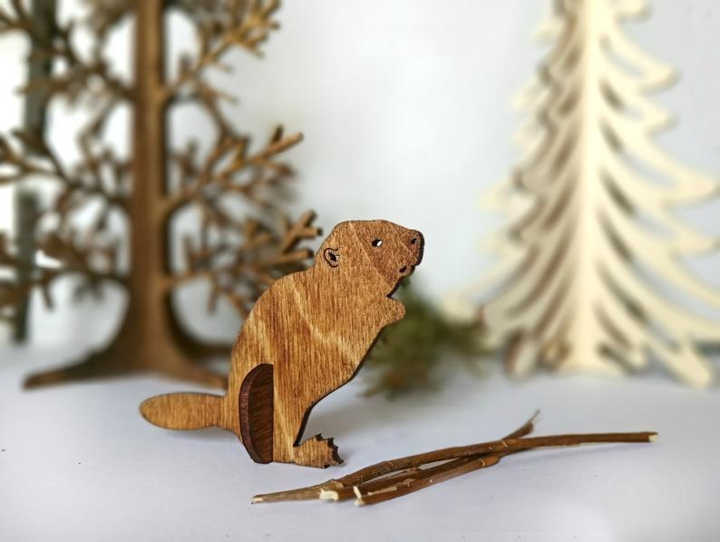 Beaver Wooden Animal Laser Cut Cnc Template Free CDR Vectors Art