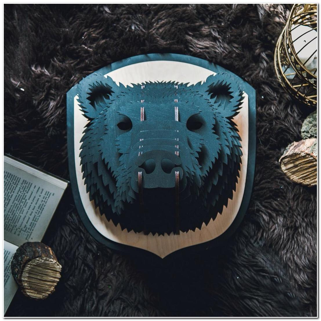 Laser Cut Bear Head Animal Trophy Wall Art Free CDR Vectors Art