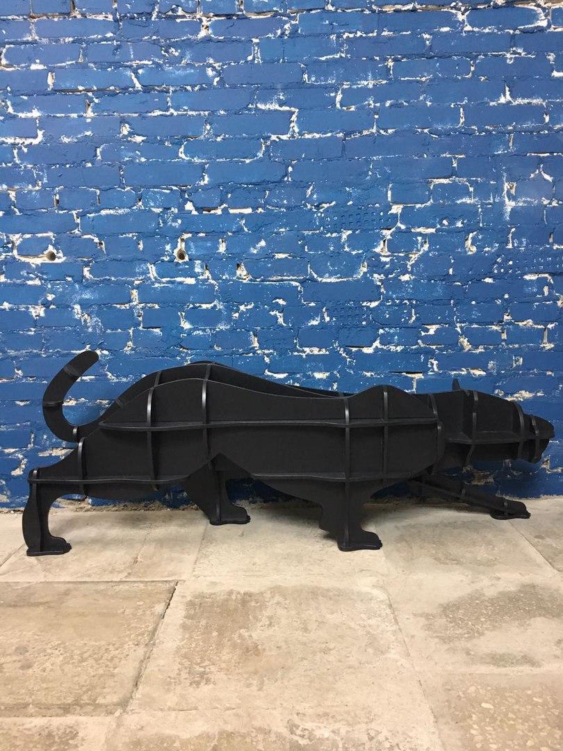 Laser Cut Puma Panther Cheetah Shelf Animal Bookshelf Panel Furniture Free CDR Vectors Art