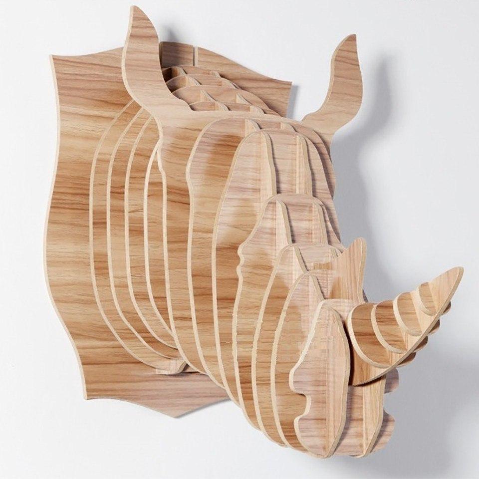 Laser Cut Rhino Head Trophy 3d Animal Head Free CDR Vectors Art