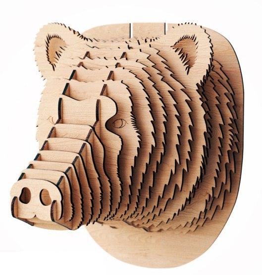 Laser Cut Wooden Animal Trophy Head Bear Head Wall Decor Free CDR Vectors Art