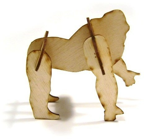 Laser Cut 3d Puzzle Gorilla 1mm Plywood Free DXF File