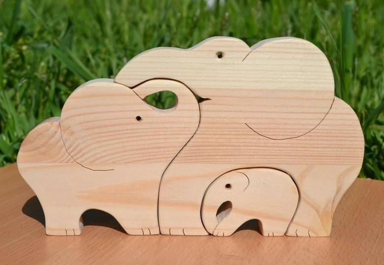 Laser Cut Wooden Elephants Jigsaw Puzzle Free DXF File