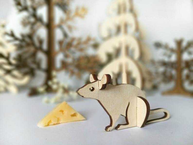 Mouse Wooden Animal Kit Laser Cut Template Cnc Free CDR Vectors Art